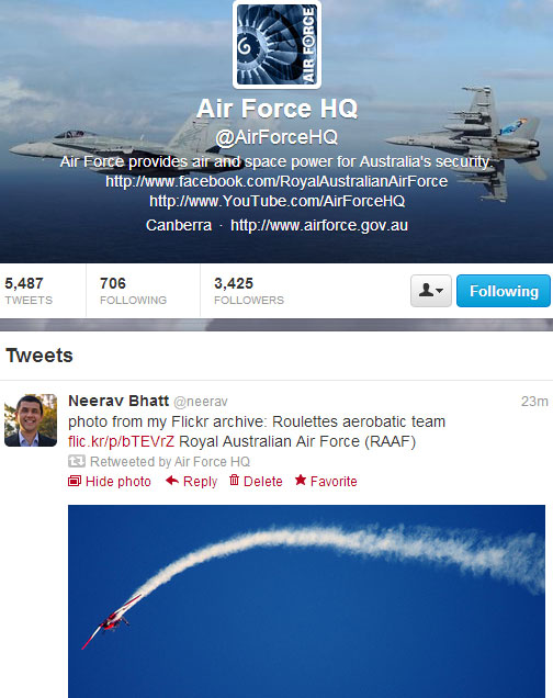 RAAF photo retweet