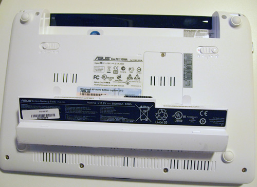 Photo of ASUS 1101HA with battery removed