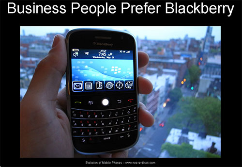 Business people prefer Blackberry phones