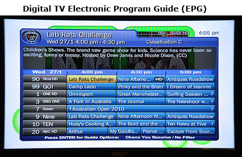 digital tv Electronic Program Guide (EPG)