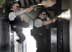 A freeze frame from the movie Hot Fuzz