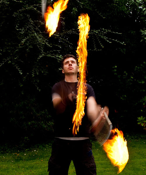 juggling fire is exciting and dangerous