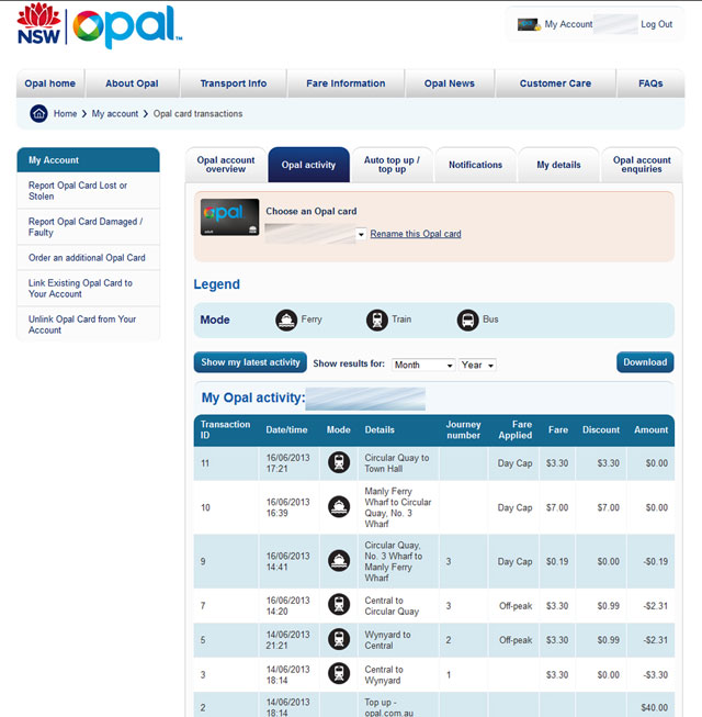Transaction details for your Opal journeys are viewable by logging in to your opal.com.au account