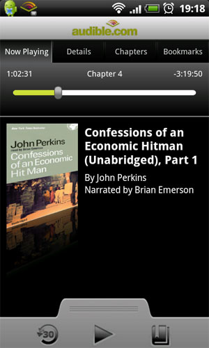 playing audible audio book with android app