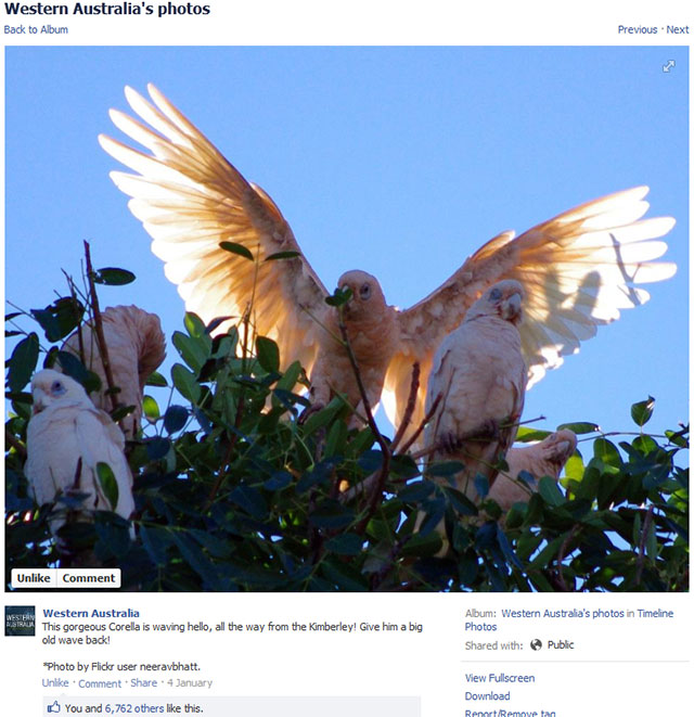 Western Australia Tourism facebook page