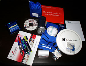 A selection of some of the freebies offered by vendors at the Information Online exhibition