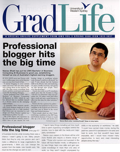 My Frontpage Interview in UWS Gradlife: Professional Blogger Hits Big Time