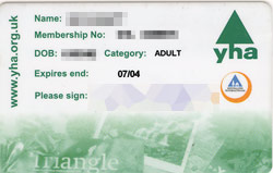 YHA membership card