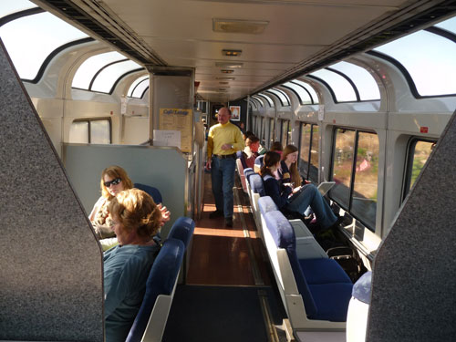 Amtrak train - observation car sightseer lounge