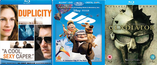 Bluray Movies: Sony Pictures Duplicity, Pixar UP!, Universal Studios Gladiator