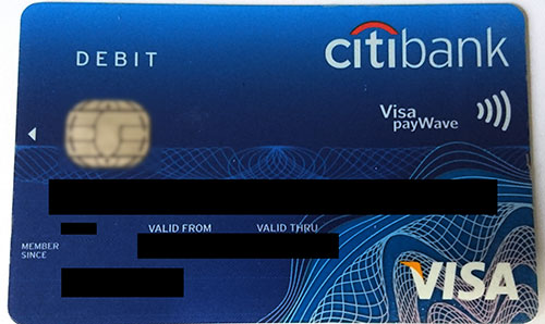 citibank Mastercard plus debit card