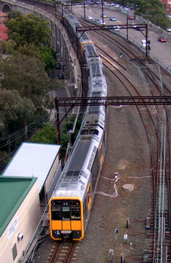 cityrail tangara train overhead view