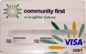 community first credit union debit card issued by NAB
