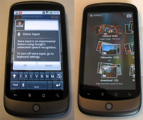 Google Nexus One - Voice Input and Photo Gallery