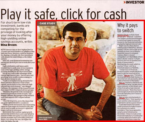 Neerav Bhatt Photo and quotes in AFR high interest bank account article