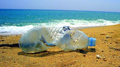 plastic water bottle rubbish beach