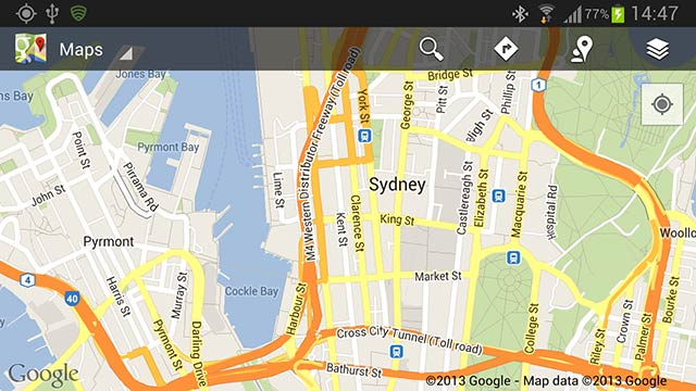 Samsung Galaxy Note 2 viewing map